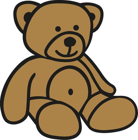 Cute comic teddy bear Illusztráció