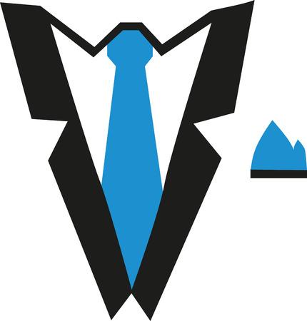 Suit with tie and handkerchief