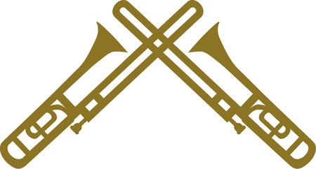 trombone: Two trombones crossed
