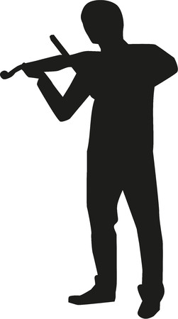 fiddles: Violin player silhouette