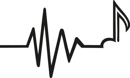 Heartbeat with music note