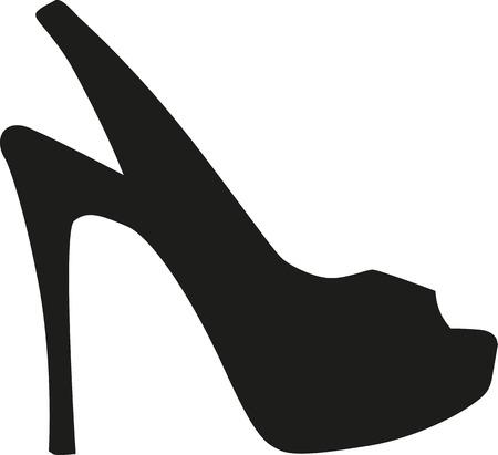 calcanhares: salto alto peep toe Ilustração