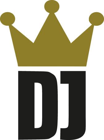 golden crown: DJ letters with golden crown Illustration