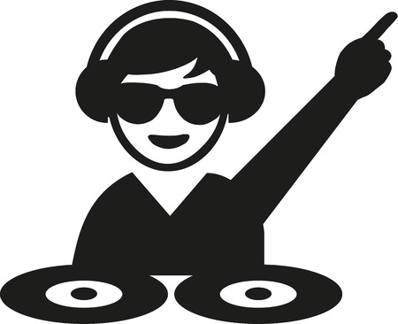 turntables: DJ with sun glasses turntables