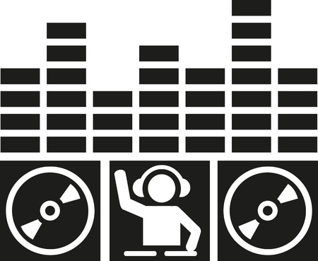 equalizer: DJ turntables with equalizer Illustration