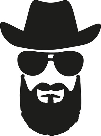 cowboy beard: Cowboy king with western hat, sunglasses and full beard