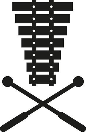 xilofono: Xilófono con los mazos cruzados Vectores