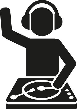 turntables: DJ behind turntables Illustration