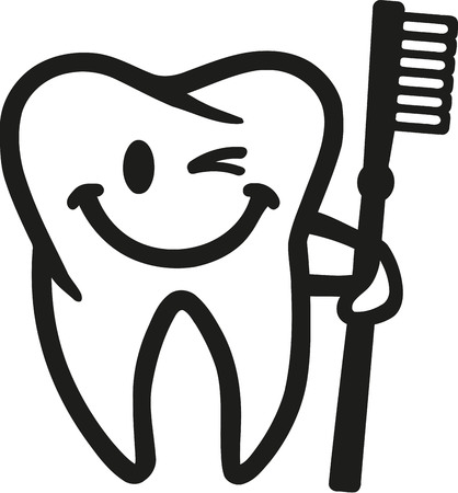 blinking: Smiling blinking tooth with toothbrush Illustration