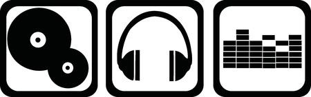 DJ icons - vinyl, headphones, equalizer Illusztráció