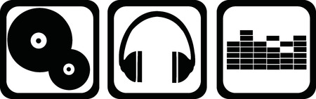 DJ icons - vinyl, headphones, equalizer Çizim