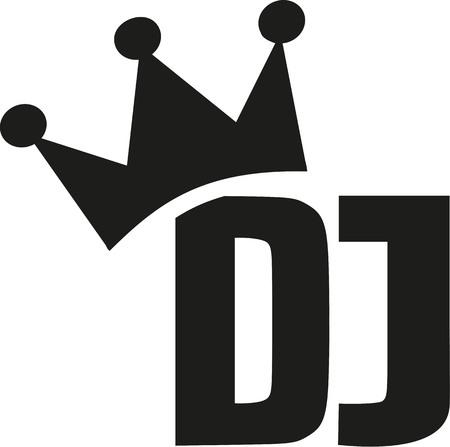 disc jockey: DJ with crown Illustration