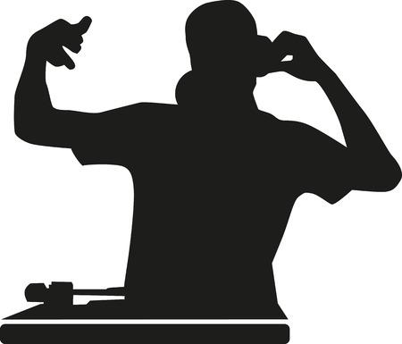 disc jockey: DJ silhouette