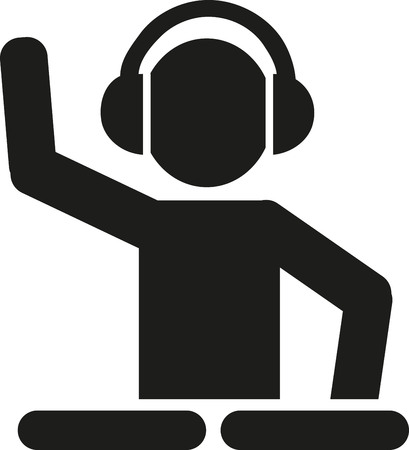 DJ with turntables pictogram 版權商用圖片 - 58133628