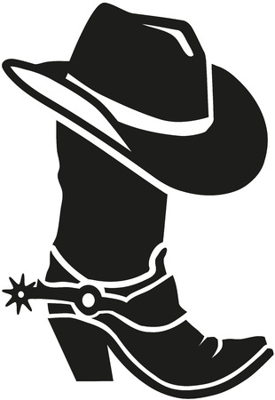 Cowboy boot with hat Stock Illustratie