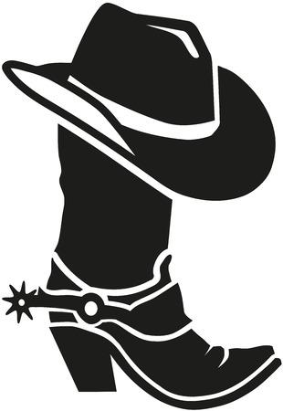 stivale da cowboy con il cappello