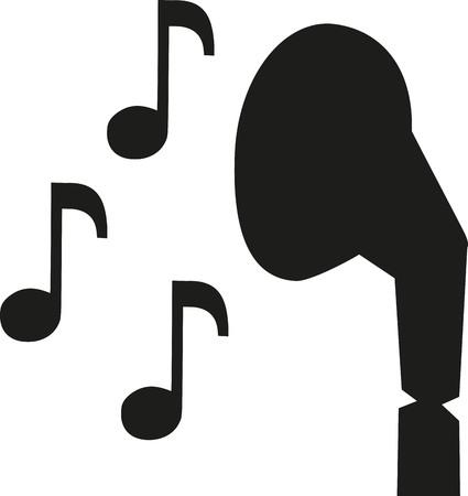 earphones: Earphones icon with notes Illustration