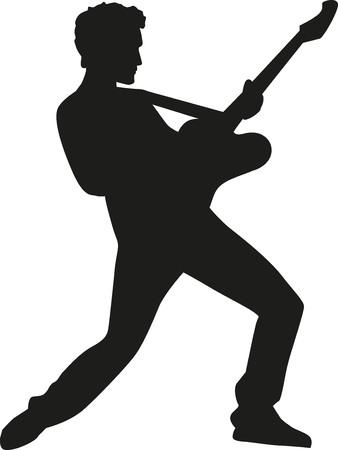 rockstar: Rockstar silhouette with electric guitar