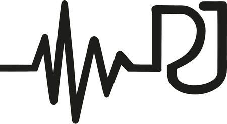 heartbeat line: Heartbeat line with DJ letters Illustration
