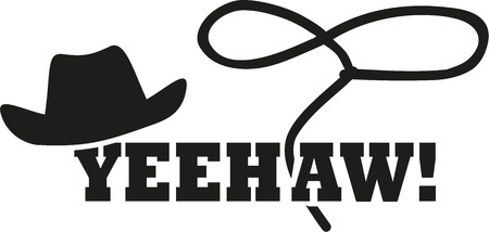 lasso: Cowboy western hat with lasso - yeehaw