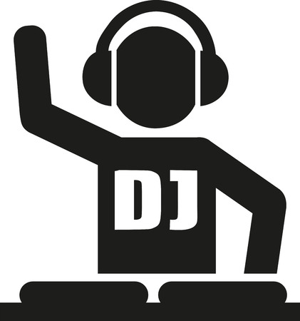 turntables: DJ icon with turntables Illustration