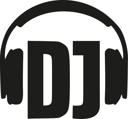 disc jockey: DJ word with headphones