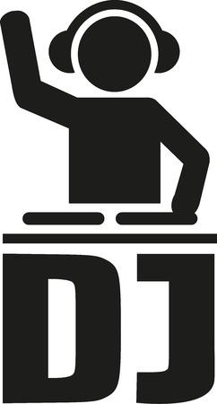 DJ icon with DJ letters Vetores