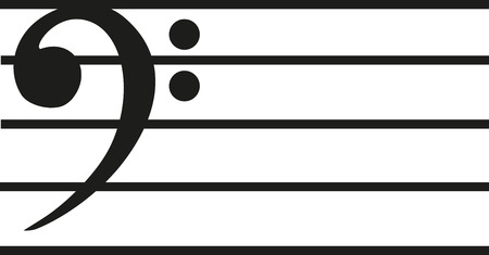 bass clef: Note line with bass clef Illustration
