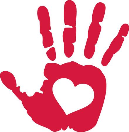 Impression à la main avec le coeur au milieu Banque d'images - 58514652