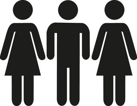 flirt: Man between two women pictogram