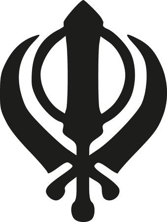 Khanda Sikh pictogram Stock Illustratie