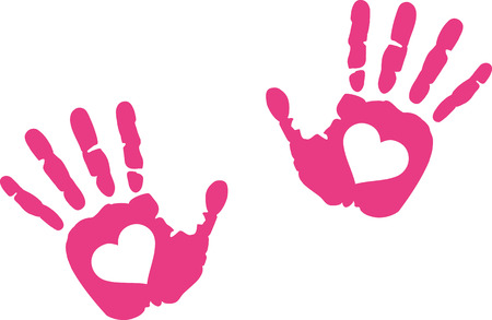 hand prints: Hand prints with heart in it
