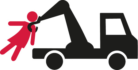 towing: Getting a woman with a towing vehicle pictogram Illustration