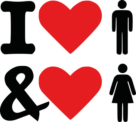 bisexual: I love man and woman icon - bisexual Illustration