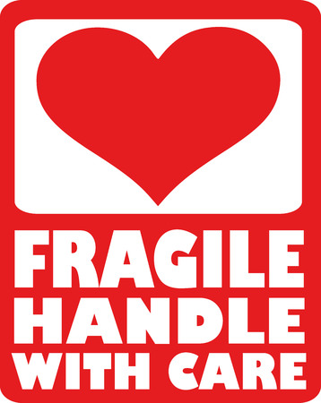 Heart - fragile handle with care Vectores