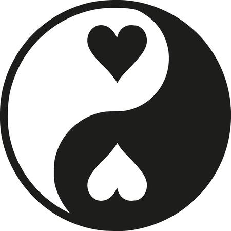Yin Yan with hearts  イラスト・ベクター素材