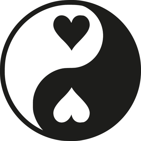 Yin Yan with hearts Ilustração