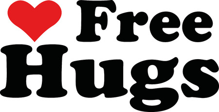 hugs: Free hugs with heart Illustration