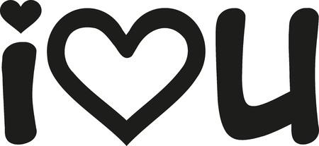 i love u: I love u hand written