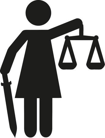 blindfold: Justitia statue pictogram