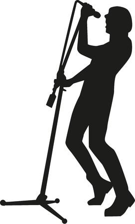 singer silhouette: Silhouette of rock singer Illustration