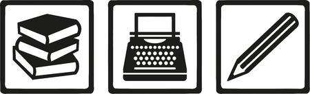Writer author tools - book, typewriter, pen