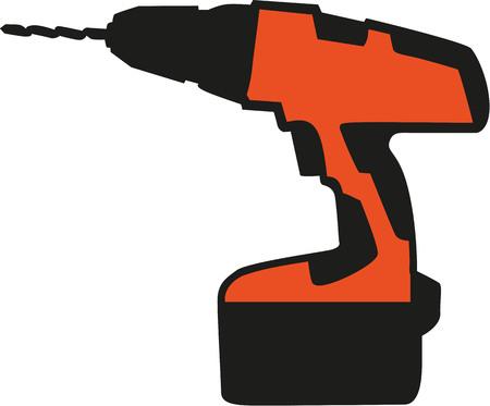 cordless: Orange Screwdriver - cordless Illustration