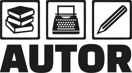 Author tools - book, typewriter, pen - german