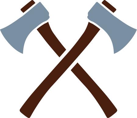 Axe tools crossed Ilustração