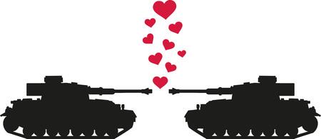 armoured: Tanks shooting love hearts