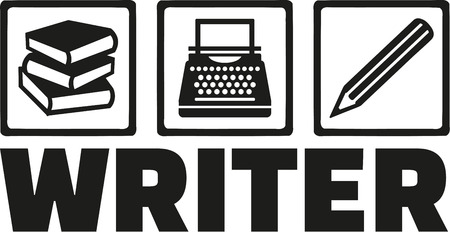 type writer: Writer tools - book, typewriter, pen