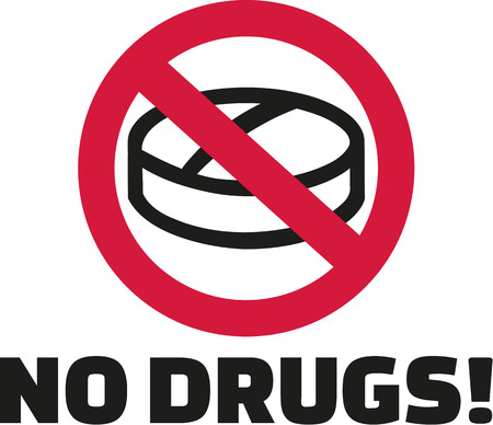 ban sign: No drugs - tablet in ban sign