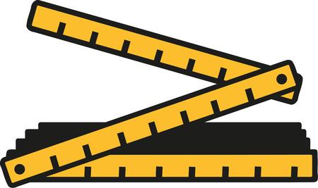 折り畳み式のルール  イラスト・ベクター素材