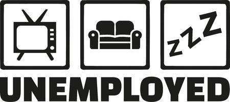 dismissed: Unemployed icons - tv, sofa, sleep Illustration
